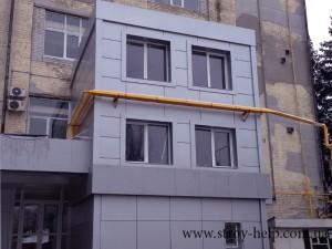 готовое здание с облицовкой композитом